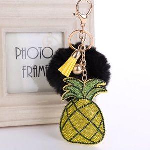 Pineapple Rhinestone Keychain w/ Tassel & Pom Pom